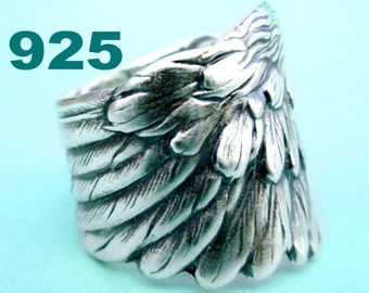 Angel Wing ring feather ring Jewelry Sterling Silver Ring Unique Ring wing jewelry feather jewelry adjustable ring feather jewlery R-022