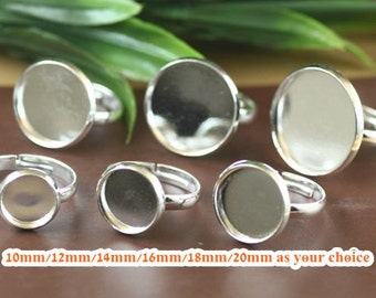 40 Brass Silver Plated Tone Adjustable Ring Base with Round Bezel Cup Cabochon Mounting- 10mm/ 12mm/ 14mm/ 16mm/ 18mm/ 20mm as your choice