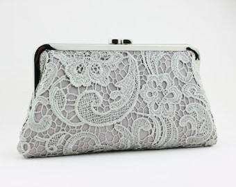 Grey Lace Clutch / Wedding Gift / Bridal Clutch / Bridesmaid Purse Clutch - 8 inches Christine Style Clutch