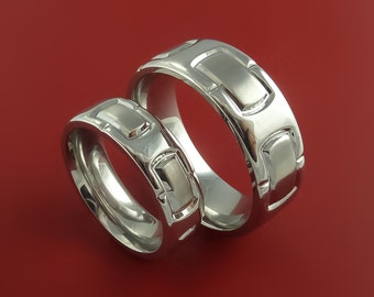 Cobalt Chrome His and Her Unique Link Ring Set Bright Comfortable Bands Made to Any Sizing and Finish