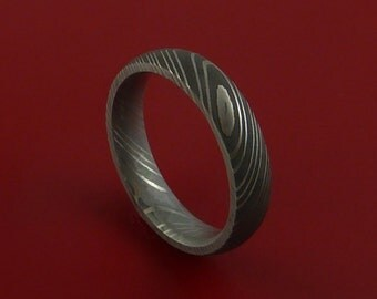 Damascus Steel Ring Acid Finish Genuine Craftsmanship Band
