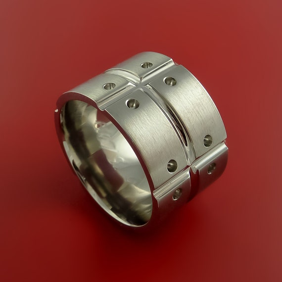 titanium unique wide wedding band mens rings by