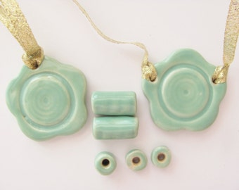 Jewelry Supplies Turquoise Two Pendants with Five Beads Handmade Ceramic Pottery