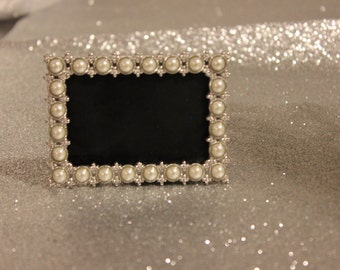 Set of 32 PEARL FRAMES Frame Mini Table Numbers Chalkboard or Glass Photo Picture Jeweled Vintage Style Glam Favors Placecards Seating Name