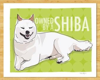 Cream Shiba Inu Art Print - Owned by a Shiba - Funny Dog Art Prints Shiba Inu Gifts Dog Portraits