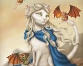 Katleesi - 8x10 art print - Daenerys Khaleesi Targaryen in cat form. With her winged mouse-dragons.