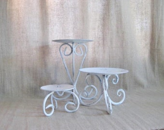 Large Cottage Chic White Pillar Candle Holders/ Pedestals / Shabby Pedestal Trio / Large White Candle Holder Trio