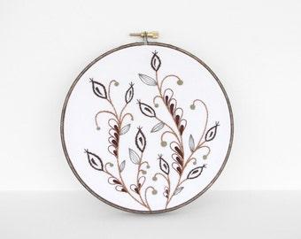 "Embroidery Art Botanical Leaf and Vine Fiber Art. Embroidery Hoop Art of Brown and Tan Leaf Design in 6"" Hoop"