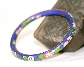 Enameled Flower Bracelet medium to heavy weight hollow core