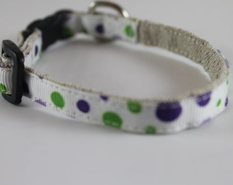 "Purple and Green Dot organic cotton 1/2"" collar"