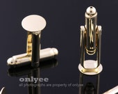 10pairs/20pcs-Gold plated Brass Cuff Links Cufflink Blank With 8mm pad(E313G)