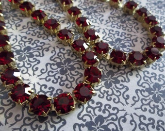 6mm Red Rhinestone Chain - Brass Setting - Red Siam Czech Crystals - Large Crystal Size 29SS