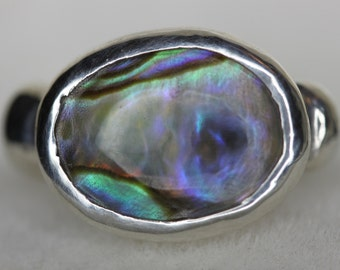 Tiny  Abalone Ring  set in Fine Silver with Two Sterling Silver Soldered Balls SIZE 4