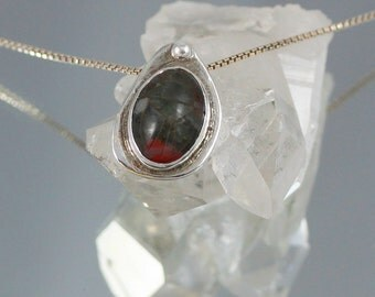 Tiny Green & Red Agate Scarab Inscribed Holy Beetle Pendant set in Sterling Silver with Fine Silver Ball Accents