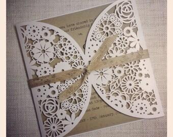 Rustic Wedding Invitation - Laser Cut invitation SAMPLE