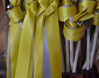 Silver Yellow Wedding  Ribbon Wands with Bells Great for Ceremonies, Events, Sport Cheering-50 count Triple Ribbon