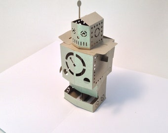 standing robot popup  card in silver or gold or colour of your choice