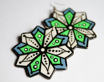 Large Hand Painted Modern Neon Green and Sky Blue Star-Bursts Earrings