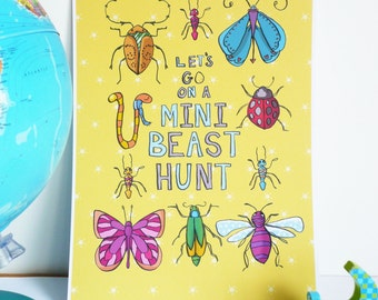 Mini Beast Hunt - Colourful Bug Insect Children's room/Nursery Print for Boys and Girls