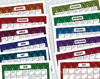SALE!! 12-Month Declutter Calendar - INSTANT DOWNLOAD - Ikat Design, Print a New Copy Each Year, Get Organized