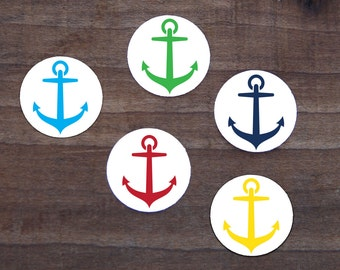 Anchor Stickers Navy Blue Aqua Red Yellow Green