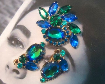 DeLizza and Elster a/k/a Juliana Blue Heliotrope Watermelon Demi Parure Brooch and Earrings