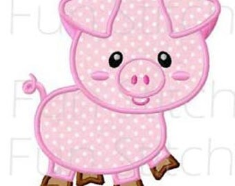 Farm pig applique machine embroidery design