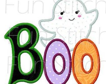 Halloween boo ghost applique machine embroidery design