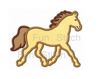 Horse applique machine embroidery design