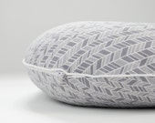 Organic Boppy Pillow Cover Grey Herringbone Fabric Organic Cotton Boppy Slipcover Boppy Cover with Zipper Boppy with Piping Made to Order