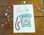 Retro Telephone Art Print A4