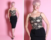 GLITZY Bombshell 1950's Inky Black Rayon Crepe Hourglass Cocktail Dress w/ Silk Brocade Sparkling Gold & Silver Lurex Sunflowers Bodice
