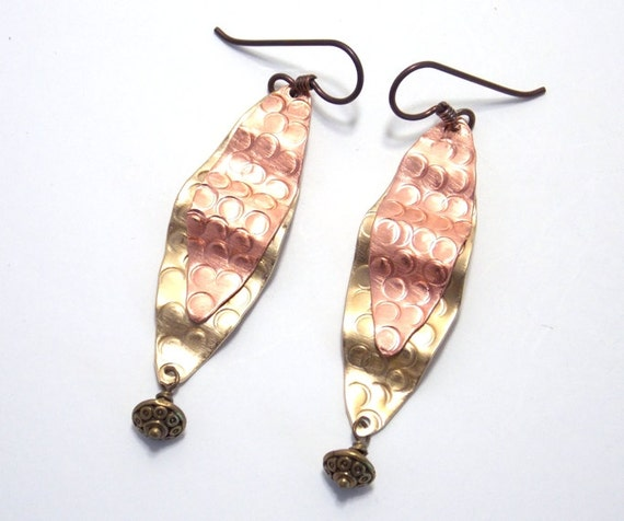 Mixed Metal Jewelry Long Earrings Textured Brass Copper Bohemian Rustic Primitive
