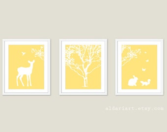 Woodland Nursery Art Prints - Baby Girl Nursery Decor - Tree Fawn Bird Rabbit Squirrel Butterflies Wall Art - Yellow and White