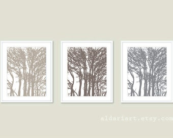 Woodland Trees  Art Prints Trio - Taupe brown Slate Grey - Modern Trees Wall Art