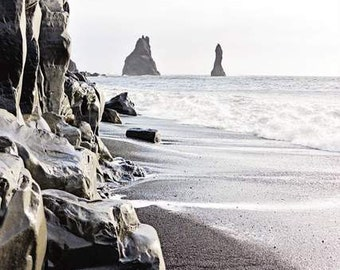 Black Sand Beach, Vik Iceland, Black Pebbles, Travel Art, Volcanic Sand Beach, Large Cliffs, Pillars of Rock, Iceland Pictures, Home Art