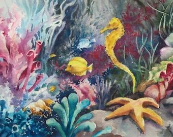 Tropical Fish, Starfish and Seahorse, underwater original watercolor painting