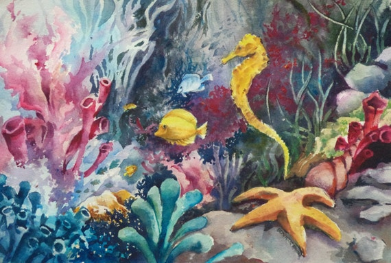 Tropical Fish Starfish and Seahorse underwater original