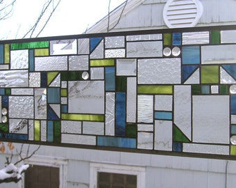 """Mission Style 10 Triangles Blue/Green Geometric--10"""" x 28""""-Stained Glass Window Panel--"""