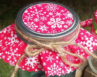12 Red Snowflake Christmas Jam Jar Covers, fabric cloth toppers for mason jars, food preservation, holiday mason jars gifts, gifts in a jar