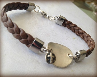 Flat Braided Brown Leather Bracelet with Karen Hill Silver Disc and Cross Charm