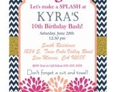 Navy Pink Coral Gold Invitation Flower Girl Nautical Birthday Invitatioin KYRA design