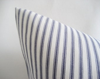 Pillow Cover Denim Blue Ticking Stripes