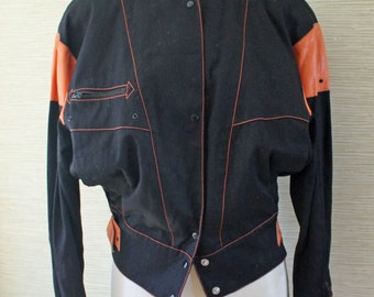 BIG Shoulder Pads...Fab Vintage 1980s Black and Orange Jacket by Complice...Madonna...80s biker style...Genny SPA...Made in Italy