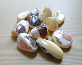 Mother of Pearl Shell Bead Mix,  Nugget Beads, Natural Creamy White - Most with Brown & Red Splash - 2 OUNCE Mix Shapes, Sizes