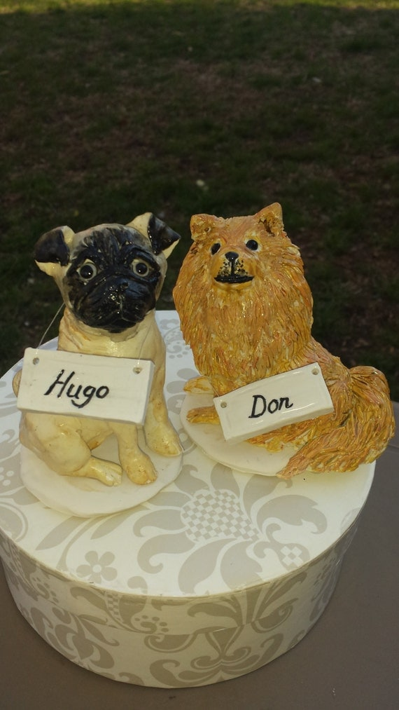 Custom made Pair of Dog Polymers clay cake topper