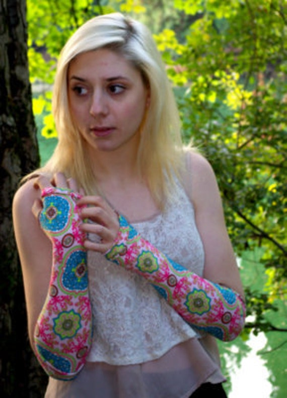 Handmade pink Indian print Jersey knit arm warmers (large) - fingerless gloves - by Dramatique Designs