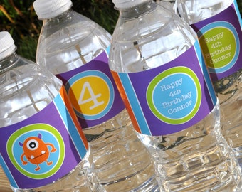 Water Bottle Labels Monster Birthday, Monsters Aliens, Personalized Party Decorations, Boys 1st Birthday Decorations - Set of 10