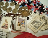 Rosary and religious item lot - destash supplies - Rosary necklace beads - jewelry making - Sacred Heart Jesus pins - cheesegrits