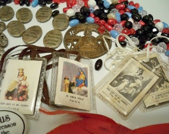 Rosary and religious item lot - Rosary necklace beads - jewelry making - Sacred Heart Jesus pins - cheesegrits